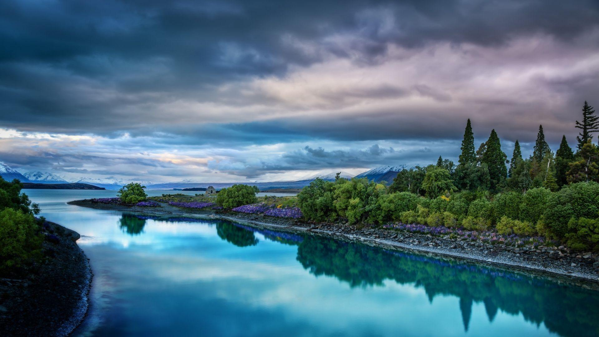 Download Wallpaper sky nature river landscape Full HD