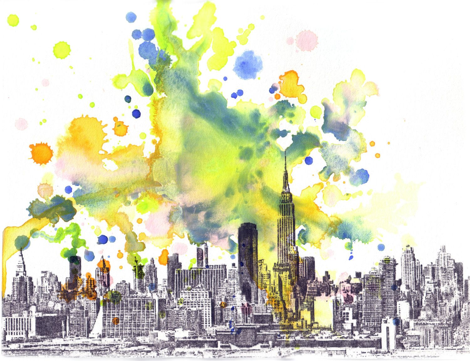 New York Skyline Art Print From Original Watercolor Painting New ...