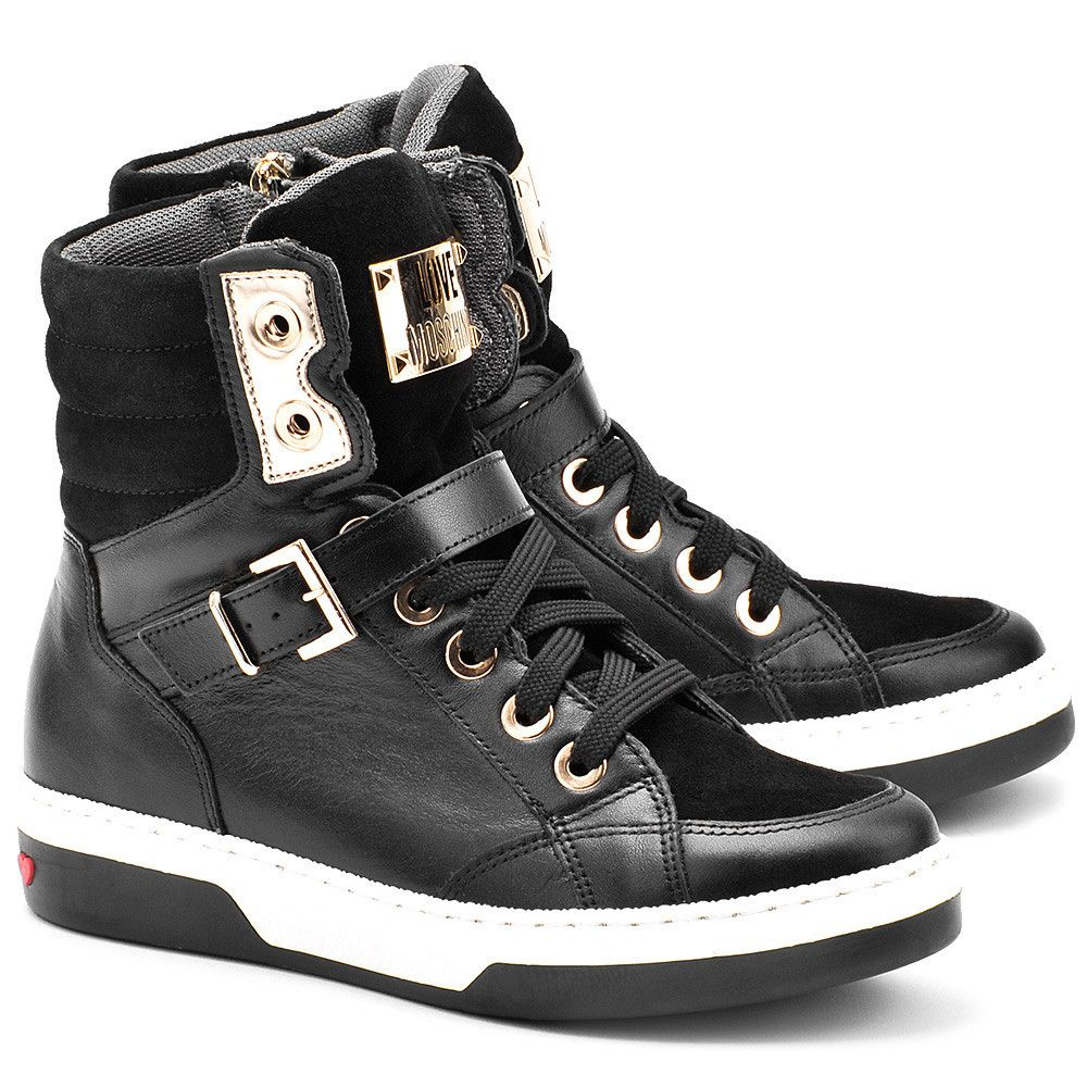Love Moschino Logo Plate Czarne Skorzane Sneakersy Damskie Buty Kobiety Trampki Mivo Boot Sandals Shoes Boots