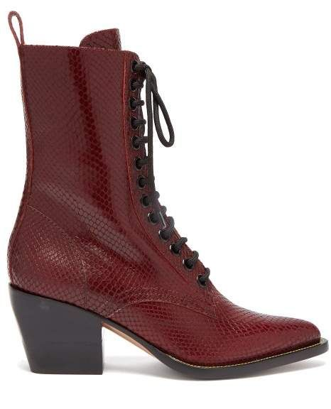 e3433a23c58a3 Chloé Snakeskin Effect Lace Up Leather Boots - Womens - Burgundy ...