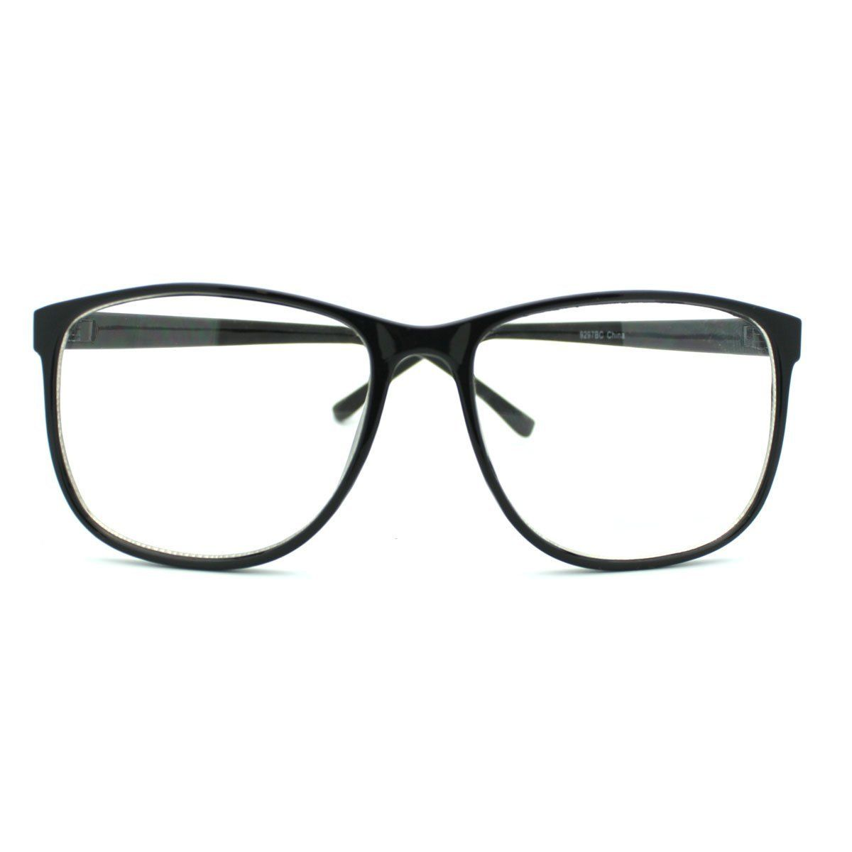 8843b87d36 Black Large Nerdy Thin Plastic Frame Clear Lens Eye Glasses Frame ( 3.26)