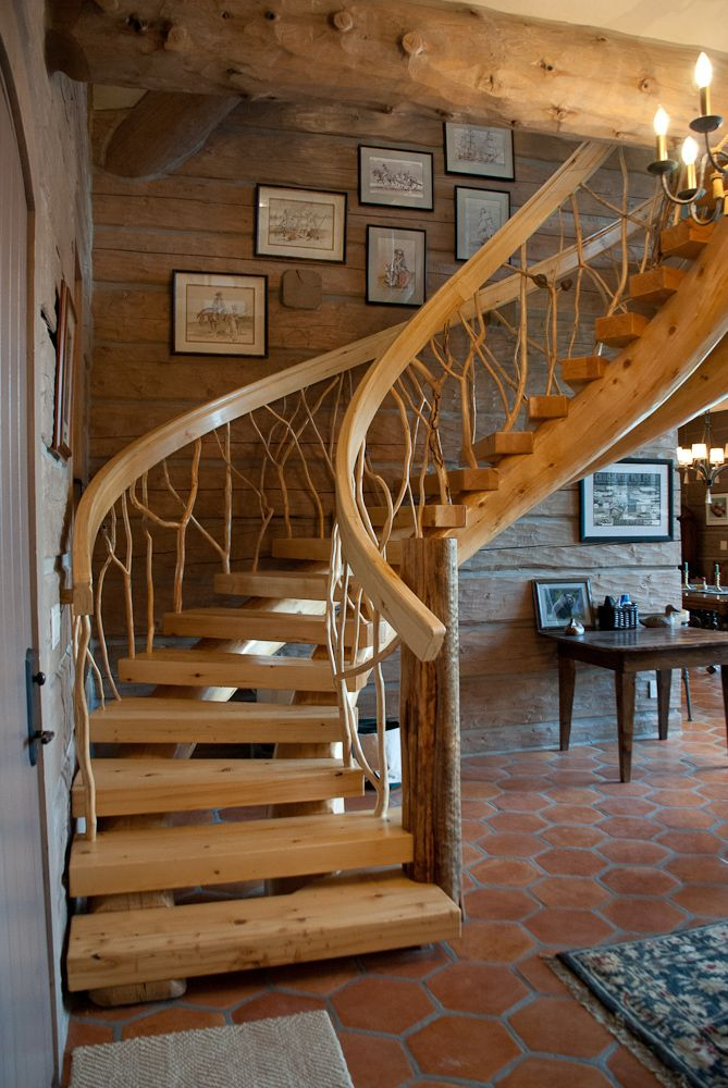 Amazing Unique Design   Artisanal Quality Craftsmanship. Curved Log Staircase, With  Twig Railing In A Handcrafted Caribou Creek Log Home.