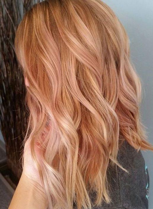 Rose Gold Haarfarben Für Mittellange Frisuren 2017 Balayage