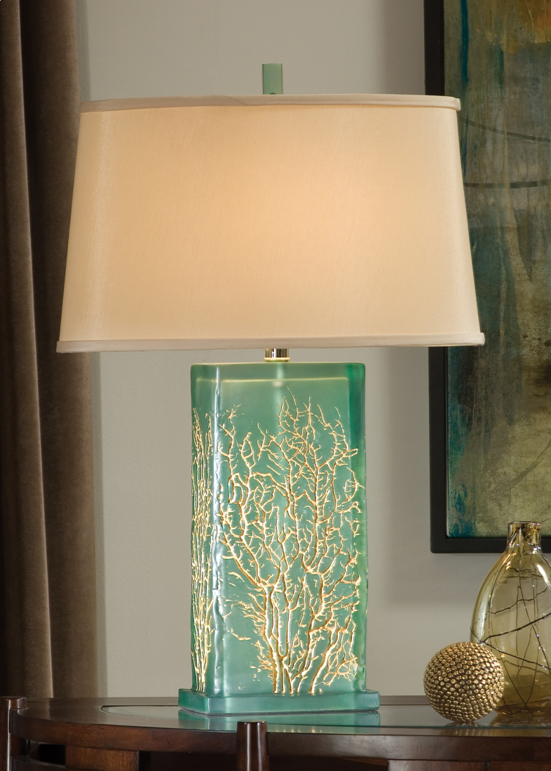 Beautiful Translucent 28 5 Inch Tall Aqua Lamp With Gold Sea Fan Design Cottage Style Bedrooms Coastal Decor Decor