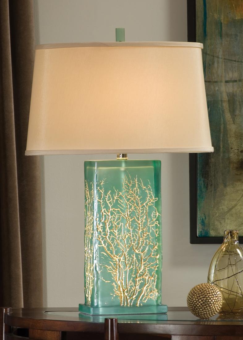 Aqua Sea Fan Design Lamp- so pretty with a touch of gold! | Beach ...