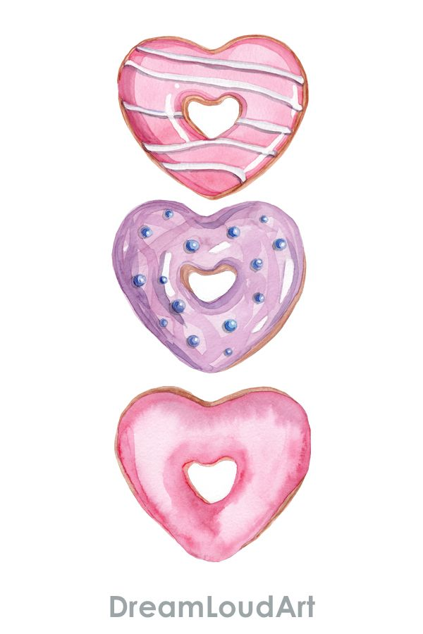 Watercolor donuts clipart . Set of sprinkle ,heart shaped ...
