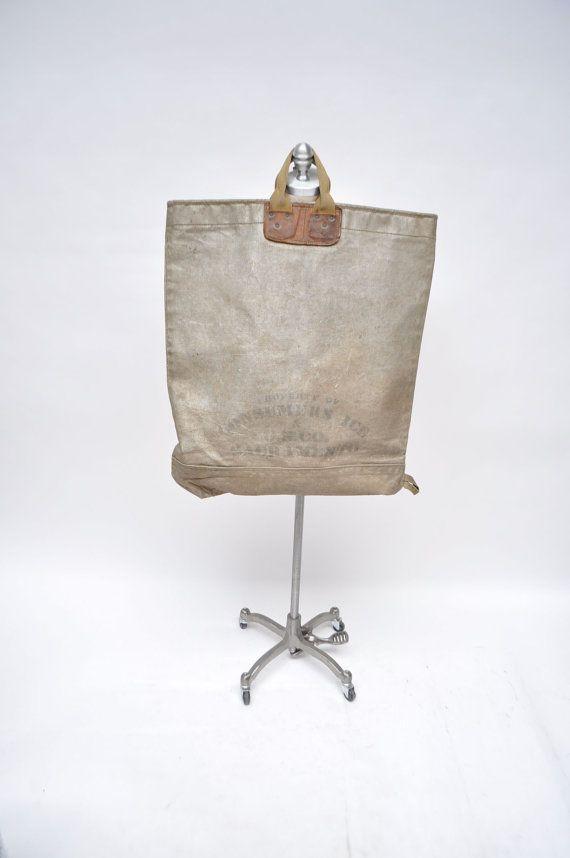 Vintage Tote Bag Huge Ice Bag Leather Canvas 1940s By Goodbyeheart 275 00 Tote Bag Bags Vintage Tote Bag