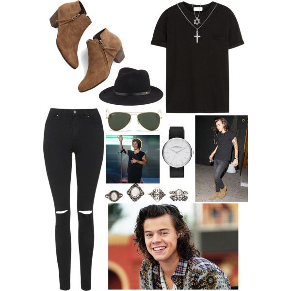 Harry Styles Inspired ❤︎ by summertimesea on Polyvore featuring polyvore, fashion, style, Frame Denim, Topshop, Chelsea Crew, MARC BY MARC JACOBS, Sterling Essentials, Charlotte Russe, rag & bone and Ray-Ban