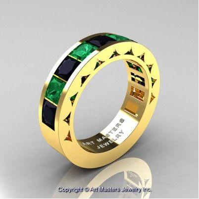 Mens Modern 14K Yellow Gold Princess Black Diamond Emerald Channel Set Wedding Ring R274M-14KYGEMBD - Perspective