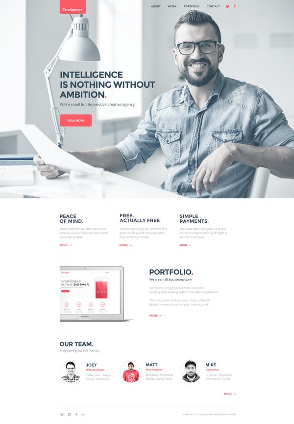 Freelancer Website Template Freelancer Website Psd Template Free Web Development Design