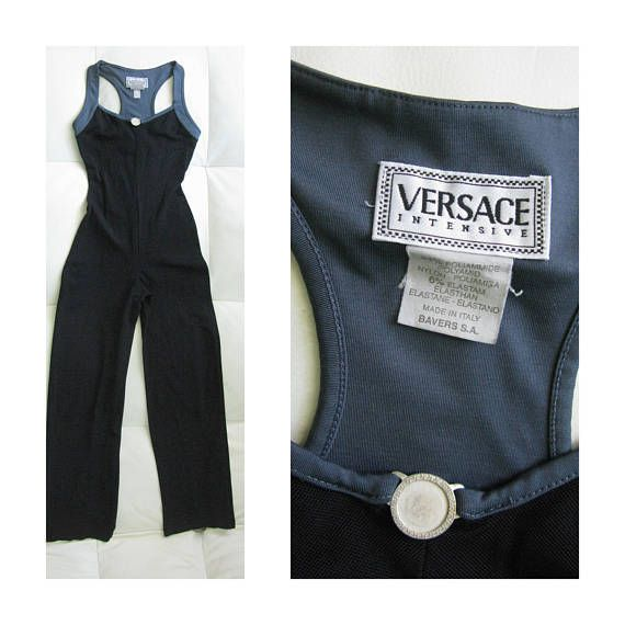 bfeed4f5c8ea Vintage VERSACE Intensive Gray Black Stretchy Jumpsuit  Versace  Jumpsuit