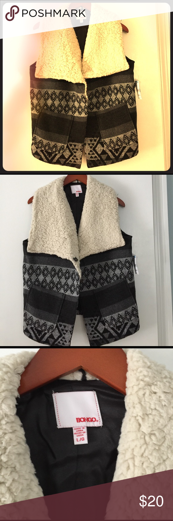 Warm Tribal Pattern Vest This Tribal Pattern Vest has fur like material. It is size Large. Still has tags never worn. It is missing the belt but it can be worn without it. Two of the buttons (check out photo) need to be sewn on in parts. BONGO Other