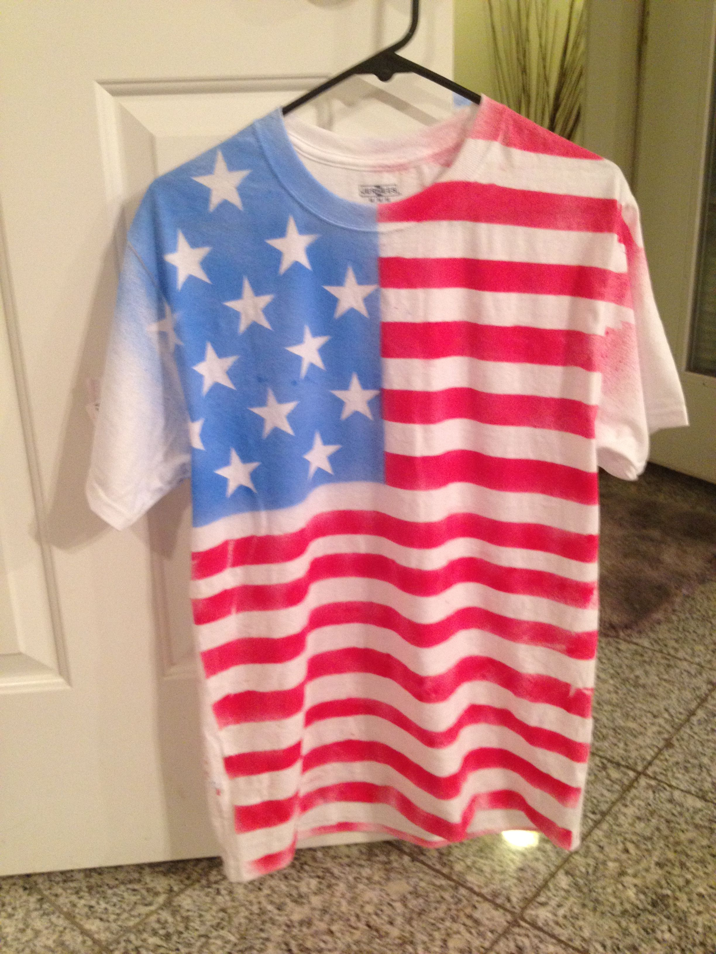 diy american flag t shirt all you need is a white tee. Black Bedroom Furniture Sets. Home Design Ideas