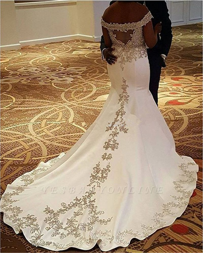 2020 African Cheap Mermaid Wedding Dresses Off Shoulder Half Sleeves Lace Appliques Chapel Train Plus Size Button Back Formal Bridal Dress From Haiyan4419 154 Plus Size Wedding Gowns Satin Mermaid Wedding [ 960 x 960 Pixel ]