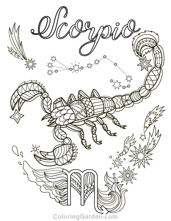 Free printable Scorpio adult coloring page. Download it in PDF ...