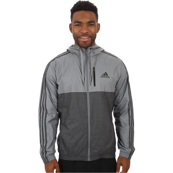 af544033da9 adidas Essential 3S Woven Jacket (Vista Grey/Black) Men's Sweatshirt (£29)  ❤ liked on Polyvore featuring men's fashion, men's clothing, men's  outerwear, ...