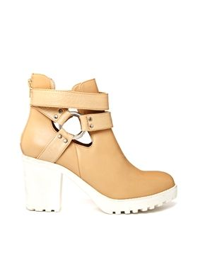 Image 1 ofRiver Island Ilona Brown Cut Out Harness Heeled Boots