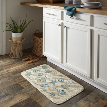 coastal kitchen rugs 6 seat table mainstays nature trend mat 18 inch x 30 blue