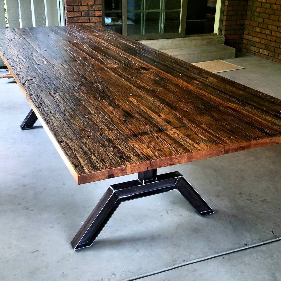 Custom Made Industrial Reclaimed Oak Butcher Block Table Dining Table Slab Dining Tables Industrial Table Legs