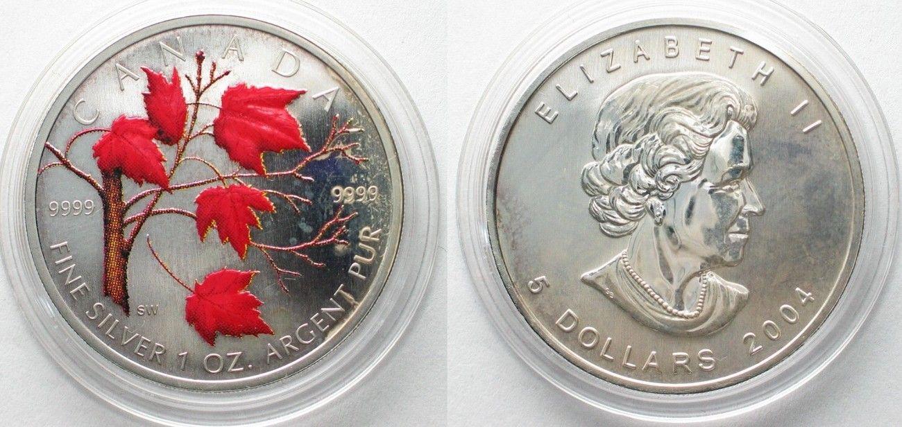 2004 Kanada CANADA 5 $ 2004 Maple Leaf WINTER COLORS 1 oz silver COLORED # 96087 UNC