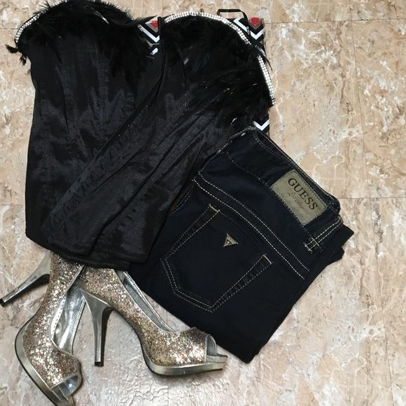 Guess jeans and black corset Size 29 guess black denim bootcut jeans, and medium size stretchable bulk corset. Jeans $20,corset $10 . Or you can buy both for $25 Please see bundle discounts. Shoes not for sale. Guess Other