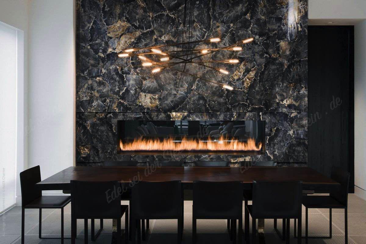 Versteinertes Holz Schwarz Black Petrified Wood Kaminrueckwand Kamin  Rueckwand Luxus Design