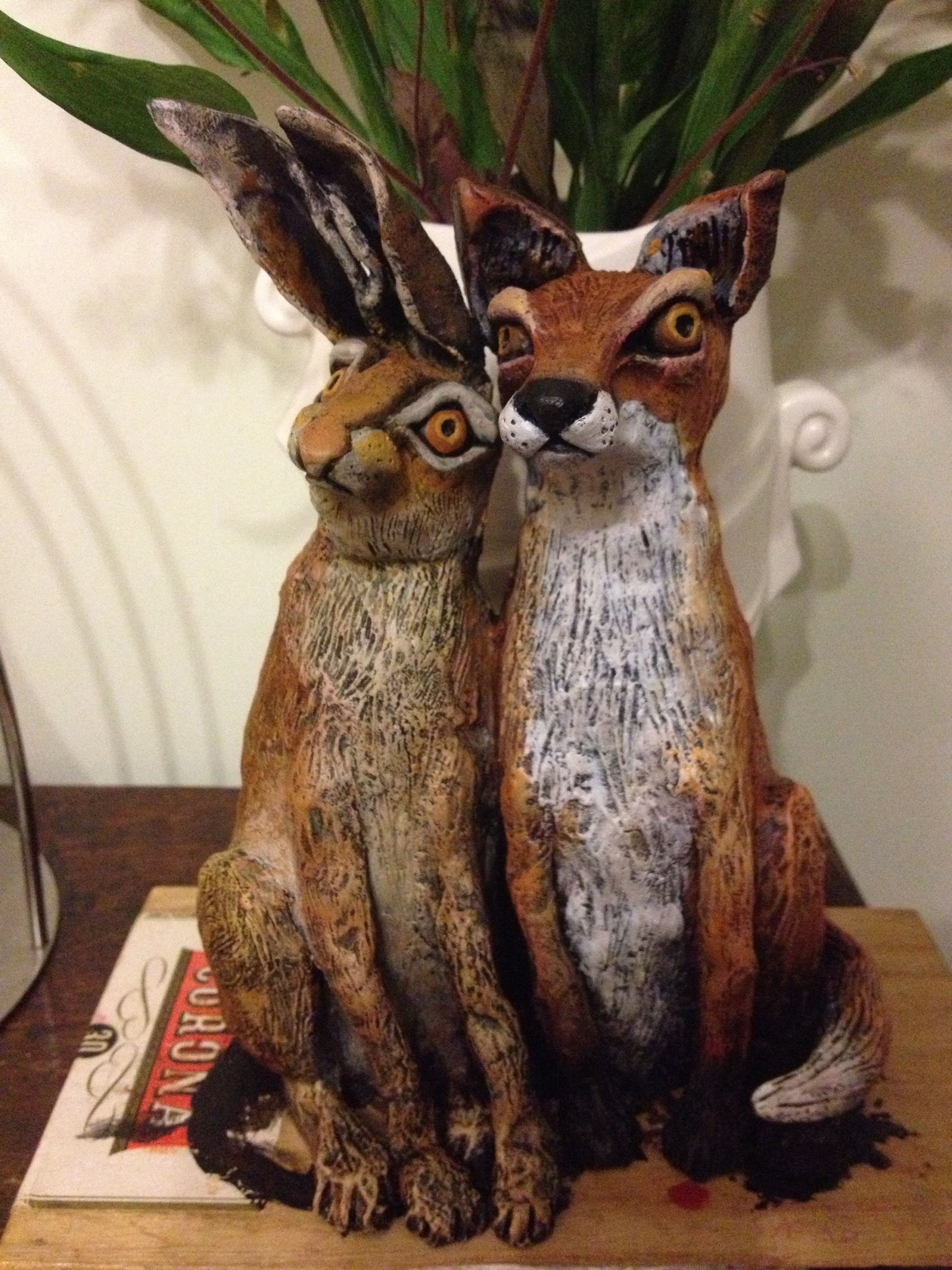 Ferdinand And Hezel Fox And Hare Sculpture Air Dry Clay