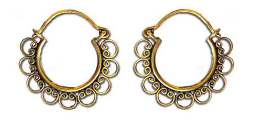 PAIR-SMALL-CIRCLE-ORNATE-TRIBAL-BRASS-TUNNEL-EARRING-EAR