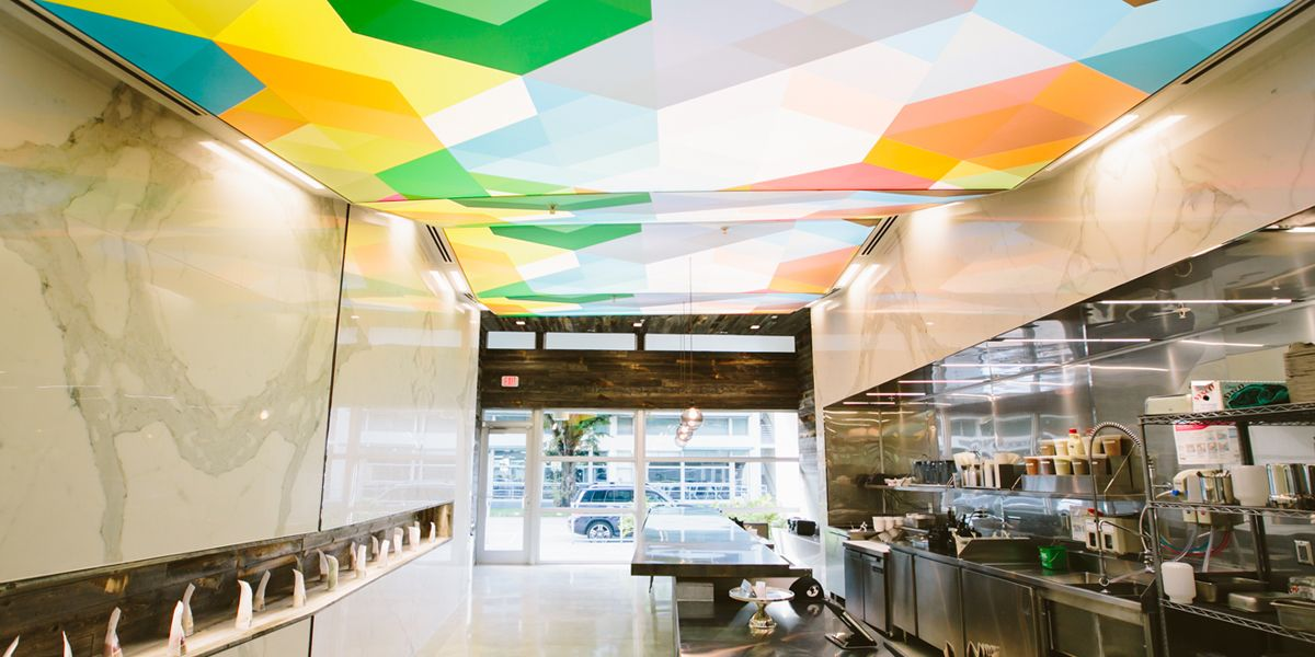 Jugofresh Santona Corner   There Are Five Custom Printed Backlit Barrisol  Ceilings In This Store.