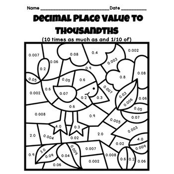decimal place value to thousandths color by number fall theme coloring decimal places place. Black Bedroom Furniture Sets. Home Design Ideas