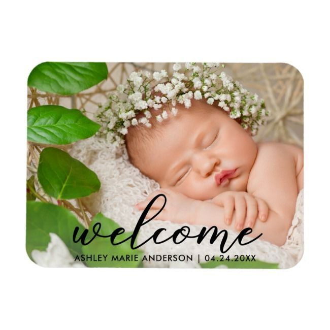 Modern New Baby Welcome Photo Magnet PhotoMagnetcreatedShop