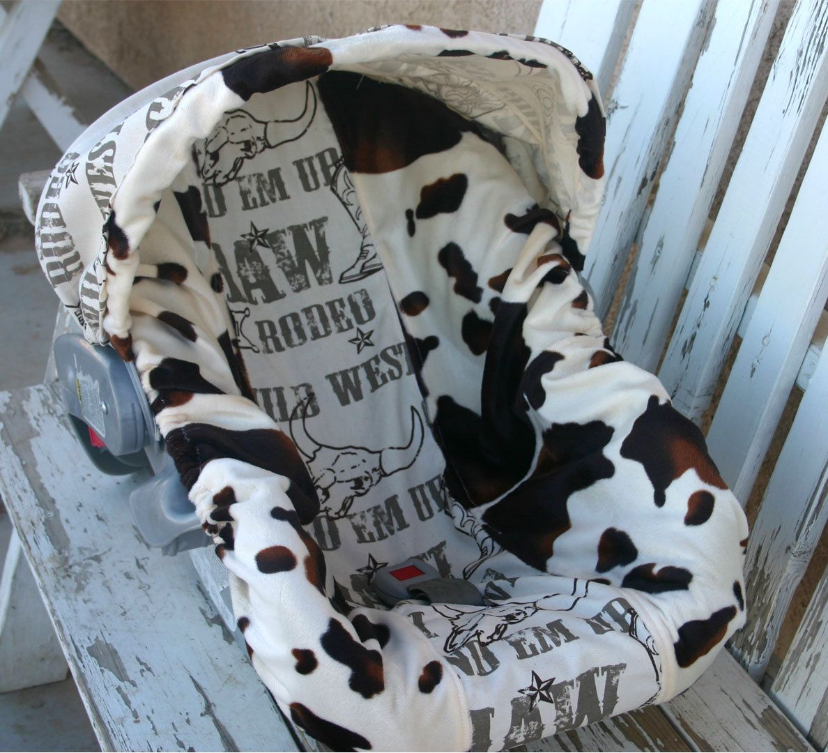 brown and tan cow print and cowboy taupe infant car seat cover and hood canopy cover cow. Black Bedroom Furniture Sets. Home Design Ideas