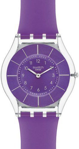 Swatch Skin Classic Purple Classiness Purple Dial Women's watch #SFK365 Swatch. $93.50. 30 Meters / 100 Feet / 3 ATM Water Resistant. Skin Collection. 33mm Case Diameter. Mineral Crystal. Quartz Movement. Save 15% Off!