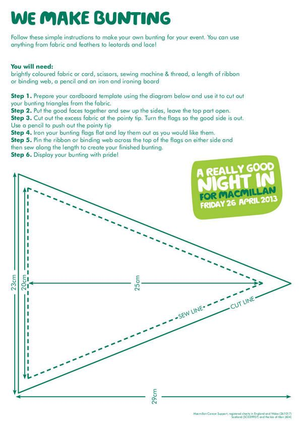 A Bunting Template So You Can Create Your Own Decorations For Goodnightin Craft Fabric
