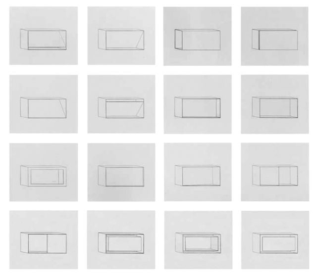 Available for sale from Barbara Krakow Gallery, Donald Judd, Untitled (1977-78), A set of sixteen etchings in black, 29 1/2 × 34 1/4 in
