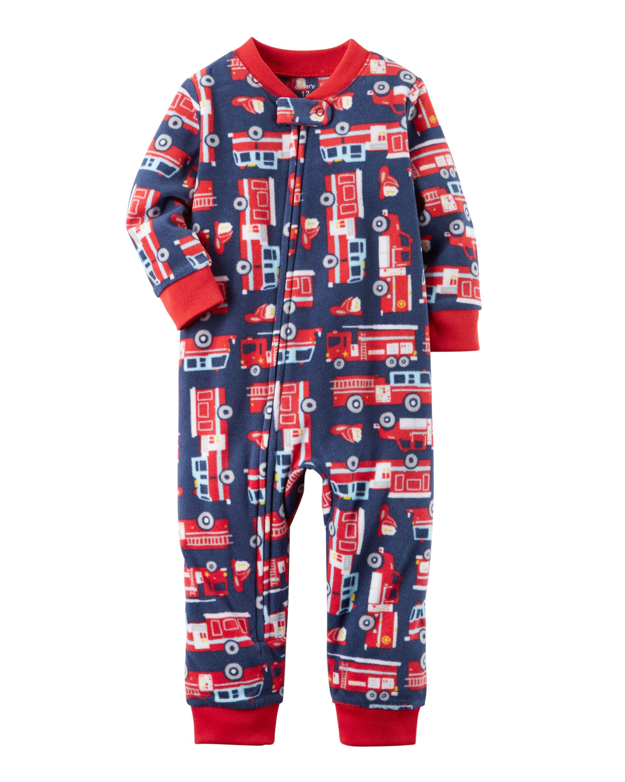 95e6d989772f 1-Piece Firetruck Fleece Footless PJs