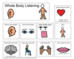 Whole Body Listening – A visual cue for Michelle Garcia Winner's concept of whole body listening from her Social Thinking Curriculum