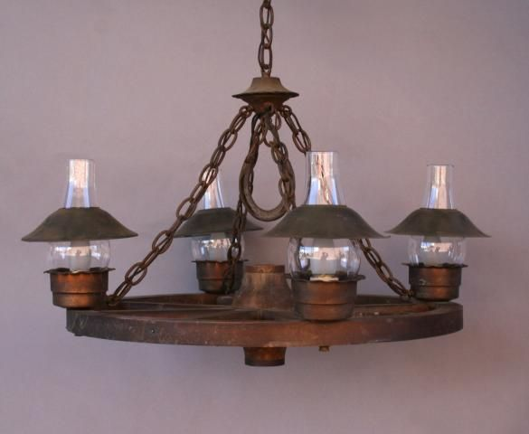 Wagon Wheel Chandelier W/ Glass Hurricane Shades, Antique Chandeliers,