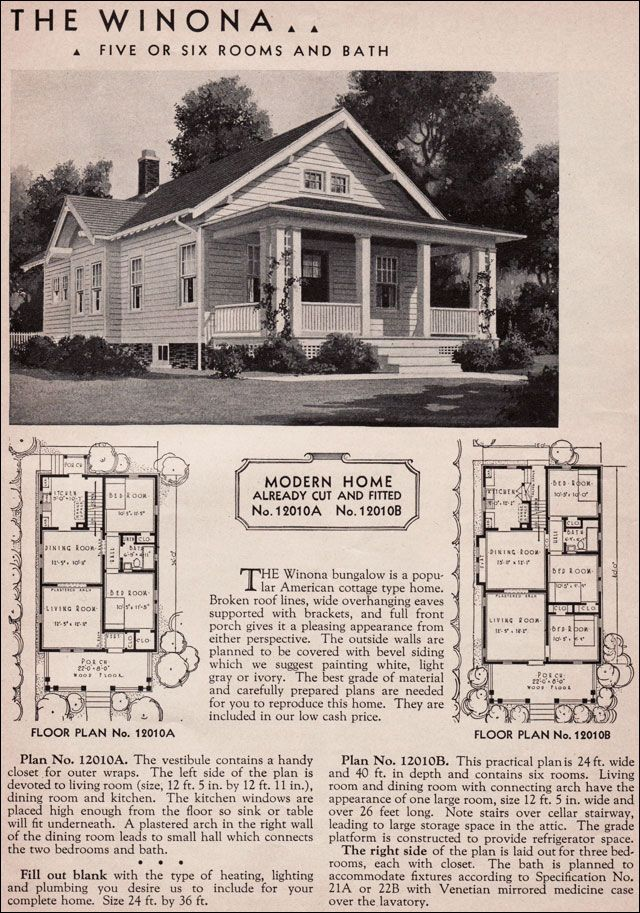 Etonnant 1936 Sears Kit House   Winona 2 Options For Floor Plans