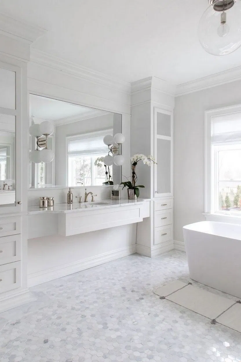 40 Amazing White Bathroom Ideas With Stunning Details 10 White Bathroom Bathroomdecor Interior White Bathroom Designs All White Bathroom Bathroom Interior