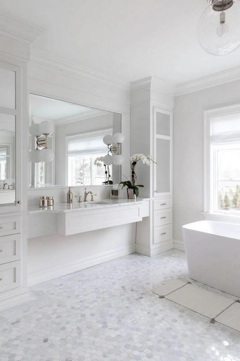 40 Amazing White Bathroom Ideas With Stunning Details 10 White Bathroom Bathroomdecor Interior White Bathroom Designs All White Bathroom Bathroom Interior