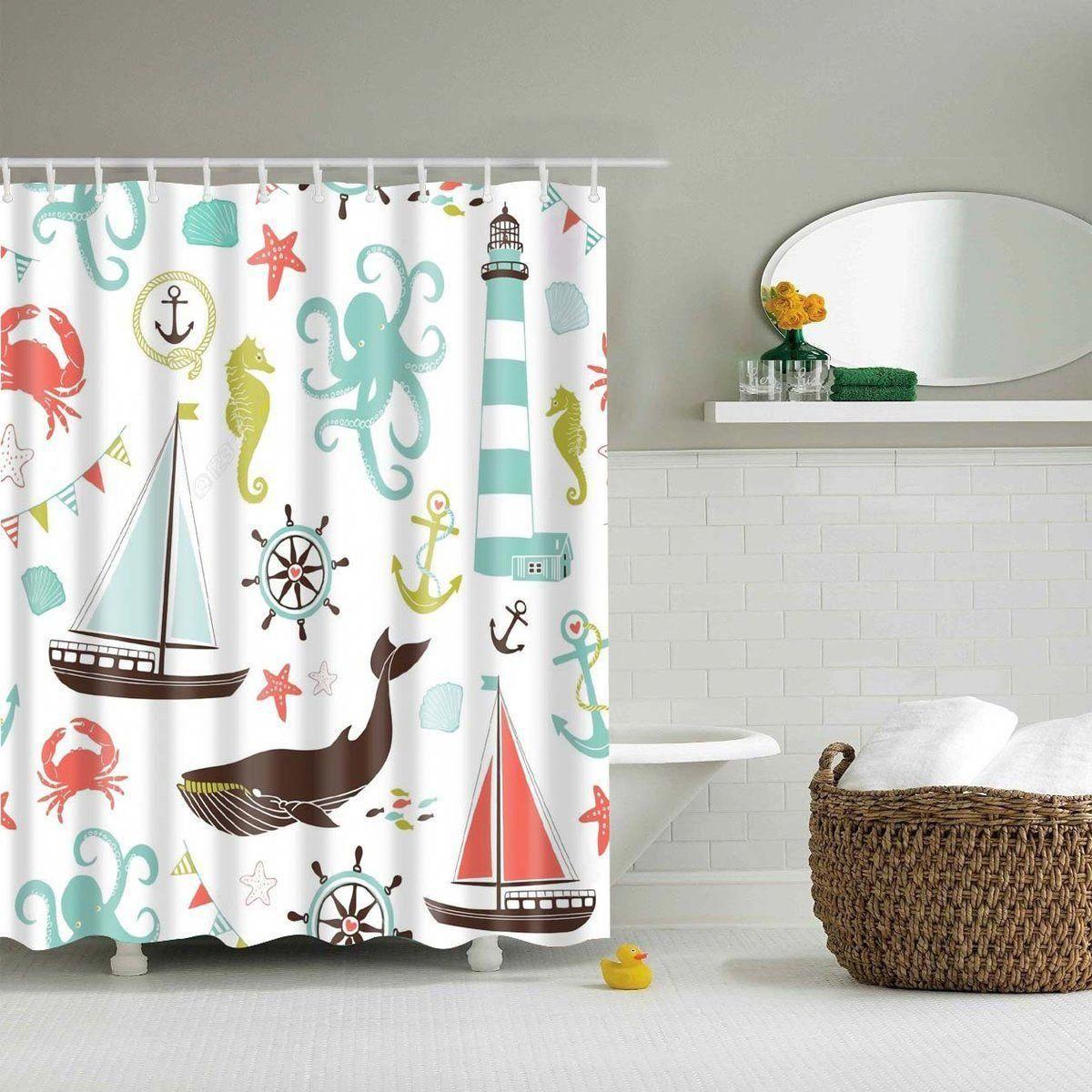 Blue Red Ocean Nautical Anchor Beach Fabric Shower Curtain Digital Art Bathroom