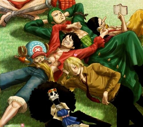 Franky, Chopper, Brook, Sanji, Luffy, Zoro, Usopp, sleeping, reading, funny; One Piece