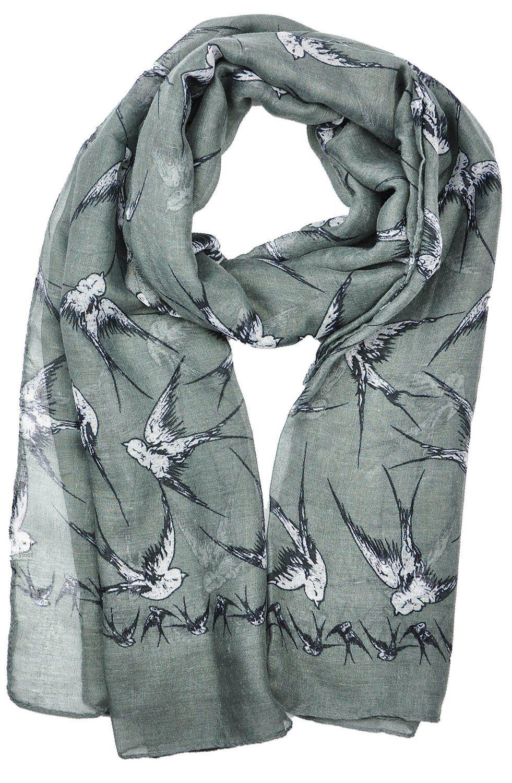 Lady Womens Colorful Long Swallow Bird Print Scarf Wraps Shawl Soft Scarves: Amazon.co.uk: Clothing