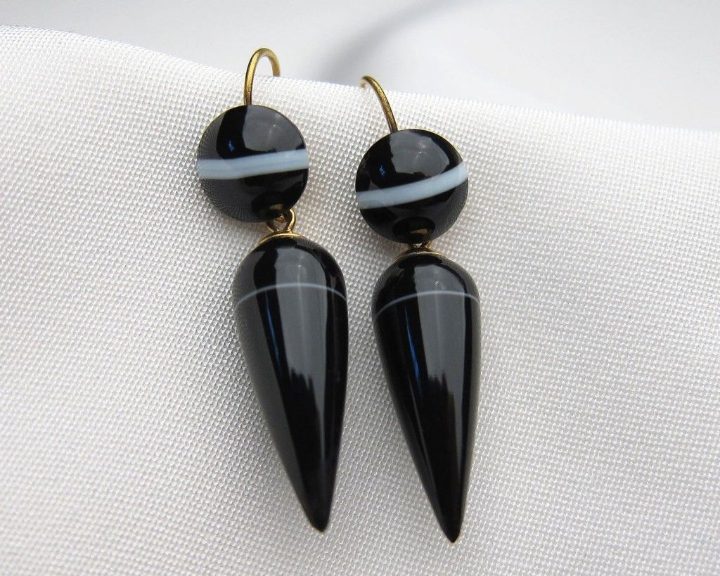 antique black banded agate earrings