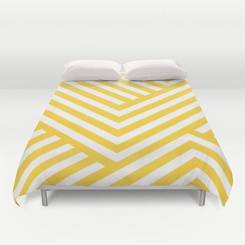 Yellow And White Stripes Duvet Cover By Liv B Striped Duvet Covers Striped Duvet Duvet