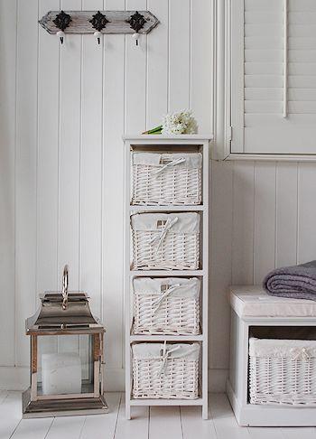 New Haven White Storage Furniture For Bedroom Bathroom Or Hall Basket Drawers