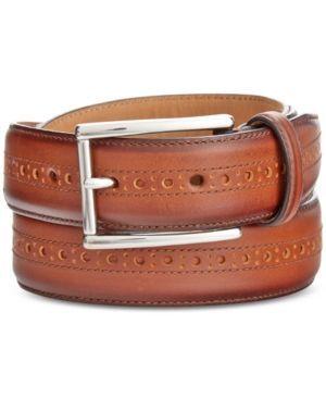 Cole Haan Men's Leather Wing-Tip Belt - Tan/Beige 40