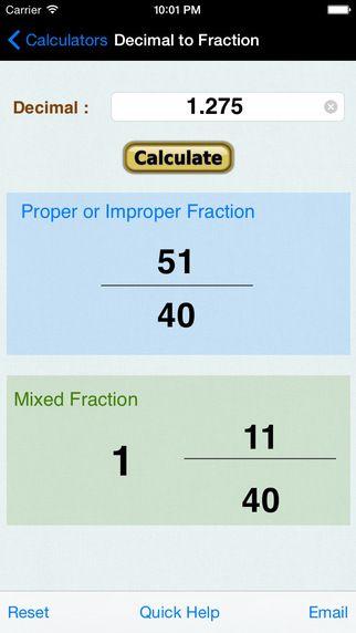Decimal To Fraction Converter Calculator Iphone Apps Fractions Decimals