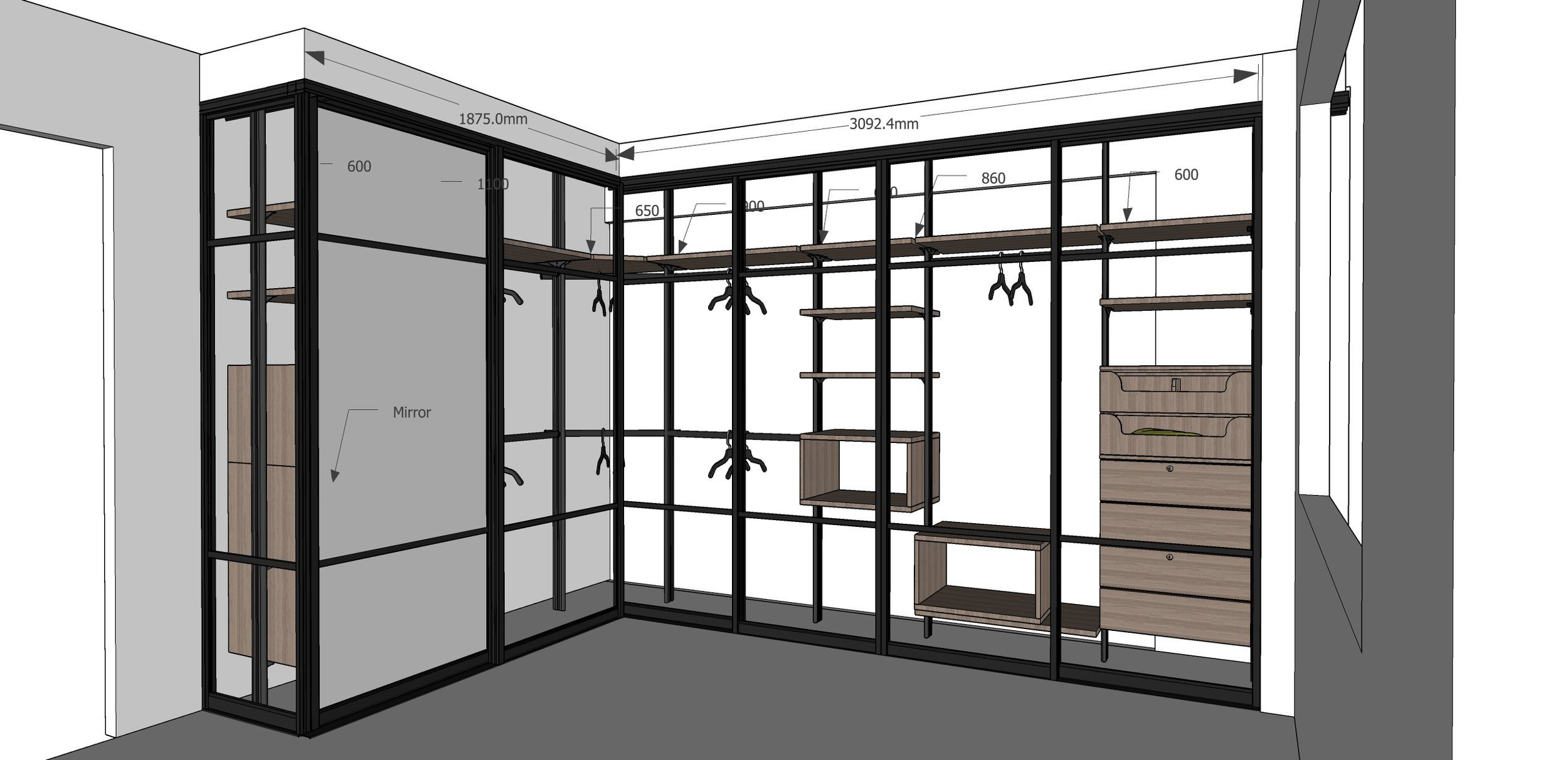 Would like to know how we can layout the Walk-In Wardrobe System ...